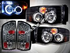 02 - 05 DODGE RAM 1500 DUAL HALO RIM HEADLIGHTS w/ LED + LED TAIL LIGHTS SMOKE