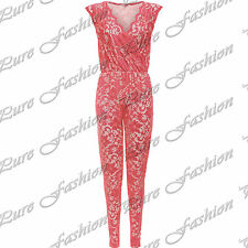 Womens Net Full Lace Sleeveless All In One Floral Piece Ladies Jumpsuit Dress