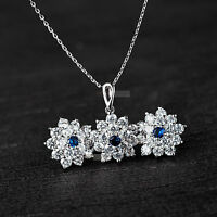 18k white gold gf made with SWAROVSKI crystal blue earrings pendant necklace set