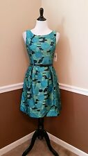 NWT Muse $190 Teal~Green Floral Belted Cocktail Dress 2 Modcloth Glow Retro Chic
