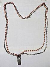 "Vintage 32"" Orange Beads & Silver Tone Cross Pendant Double Strand Necklace - WC"