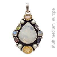 Großer Silber Anhänger Mondstein Citrin Granat Amethyst Perle silver 🌺🌺🌺🌺🌺