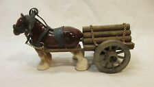 Vintage Porcelain Draft Horse Hitched Up To Wood Wagon Hauling Logs