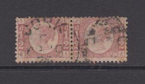 Pair of GB QV 1/2d Rose SG49 Plate 12 Bantam EI/EJ 1870 Used Stamps Cork Ireland