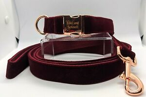 Hundehalsband, Halsband, Leine, Set, Samt, rot, dunkelrot
