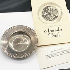 More details for vintage solid silver armada pin dish gateshead rotary club 30 years harold leech