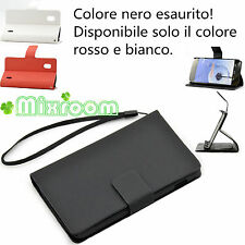 COVER CUSTODIA CASE STAND LIBRO PER LG Nexus 4 E960 PELLICOLA ROSSO / BIANCO