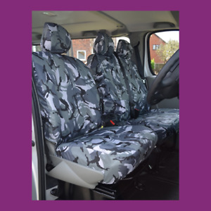 Renault Trafic 06-2014 Tailored Waterproof Grey Camo Front W/Armrest Seat Covers