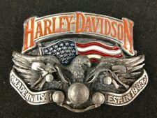 """RARE HARLEY DAVIDSON BELT BUCKLE  """"MADE IN THE USA""""  EAGLE & USA FLAG 1991 BARON"""