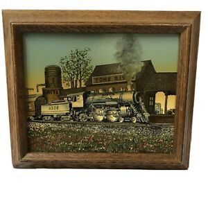 H HARGROVE Serigraph Oil Canvas Toms River Train Station Framed Certified