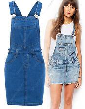 NEW Womens Denim Dungaree Ladies Dress Jean Pinafore Skirt Sizes 6 8 10 12 14