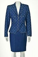 JEAN-LOUIS SCHERRER Blue Denim Skirt Suit w Zipper Jacket SIZE FR40 US 8