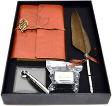 Brown Feather Quill Dipping Pen, Brown Notebook, Stand & Ink Bottle in Gift Box