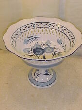 "Blue And White Pedestal Bowl With Open Filigree- 10 1/2"" X 8"""