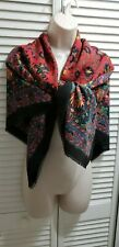 """Square Head Scarf Shawl Red Floral 45"""" x 45"""" Italy"""