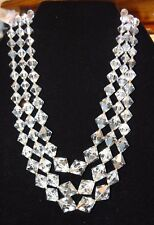 Vintage Necklace Lead Crystal Three Strands Matching beads