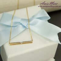Gold Bar Necklace with Natural Diamond in 9K Yellow Gold including Gold Chain