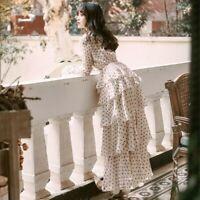 Ladies Vintage Chiffon Polka Dot Tea Dress Tiered Ruffle Long Sleeve Midi Fairy
