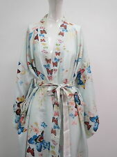 1930s Pure Silk Japanese Kimono Butterfles Pastel Colors Egg Shell Blue Ground
