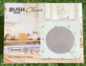 BUSH Classic Mini LCD Display DAB & FM RADIO - In Retro Bee Pattern - BRAND NEW