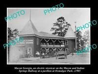 OLD POSTCARD SIZE PHOTO OF MACON GEORGIA THE PAVILLION AT OCMULGEE PARK c1905