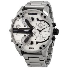 NEW DIESEL MR DADDY 2.0 STAINLESS STEEL WHITE CHRONOGRAPH MENS WATCH DZ7421