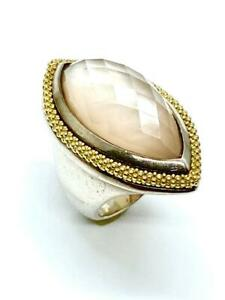 LAGOS Caviar 18K Yellow Gold + Sterling Silver Mother of Pearl doublet Ring