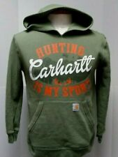 Carhartt Green Hunting Is My Sport Hoodie Sweatshirt Boys XL 18-20