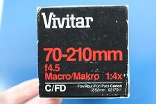 Vivitar 70-210mm f4.5 MF Zoom Lens (0217011) C/FD  NEW! OLD STOCK!
