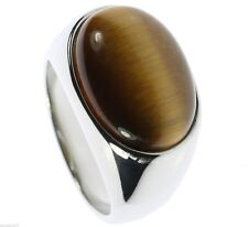 Oval Tiger Eye Highly Polished Stainless Steel Mens Ring Size 10