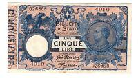 Vintage Banknote Italy 1904 (1917) 5 Lire Pick 23e US Seller