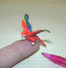 Miniature Terrific Green Winged Red Macaw, Wings Spread: Dollhouse 1:12 Scale