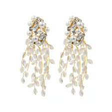 Women Wedding Crystal Pearl Statement Cluste Dangle Stud Earrings Jewelry