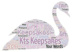 word art picture personalised gift present keepsake swan animal birthday party