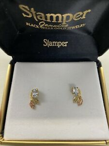 Stamper black hills gold earrings with aquamarine  over 1/2 off!