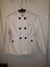 Women's - ANA - Off White w/ Black Buttons Pea Jacket, Coat - Size M (Medium)