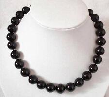 8mm Black Agate Gemstone Round Beads Chain Necklace 18''