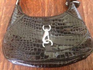 WILSON Leather * BLACK embossed CROC Alligator PURSE * Shiny w/pockets * EUC