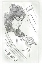 Fritz Kühn Erotisches Exlibris  H. Schult Erotic Nude Woman Touching Breast C2