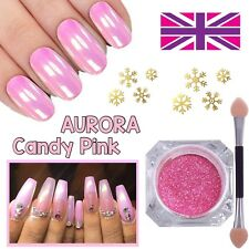 AURORA CANDY PINK Chrome Unicorn Nail Powder Mermaid AB MIRROR Effect RAINBOW