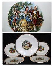 Vintage Victorian Man Woman Gold Trim 1 Cake Platter Charger & 4 Dessert Plates
