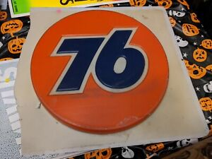 Union 76 Gasoline Round Tin Metal Sign Garage Gas and Oil Ad