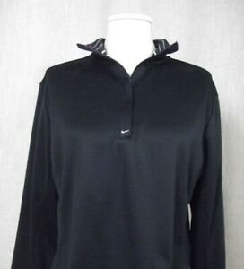 NIKE FITDRY Womens Sz L (12-14) Black 1/4 Zip Golf Pullover Athletic Shirt LARGE