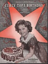 Curly Top's Birthday 1937 Shirley Temple Sheet Music