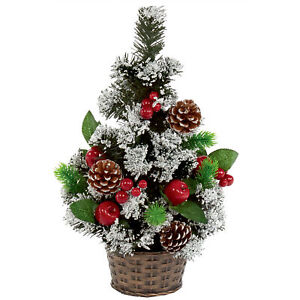 45cm Artificial Christmas Tree with Snow Tips, Berries and Pine Cones