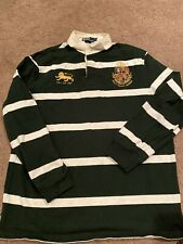 VTG 90s Ralph Lauren Polo Rugby Green Stripe Embroidered Lion Crest Pullover M