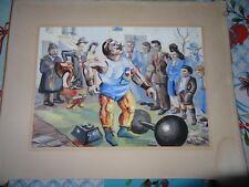 Peinture sur papier fête de quartier France libérée saltimbanque 1945