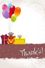 Thank You Cards Thanks Postcards Ballons & Parcels Pack of 12 Cards & Envelopes