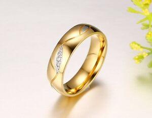 1 Edelstahl Verlobungsring Partnerring Trauringe Ehering Freundschaftsring Gold