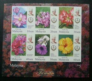*FREE SHIP Malaysia Garden Flowers Definitive Perak Sultan 2016 (ms) MNH *Imperf